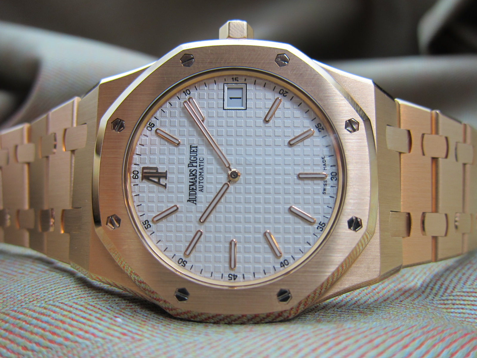 Rose Gold Jumbo 15202 white dial